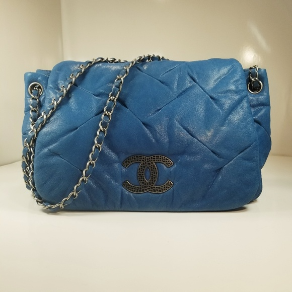 CHANEL Handbags - CHANEL BLUE IRIDESCENT PLEATED LEATHER FLAP BAG